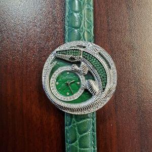 Judith Ripka Alligator Green Crystal Womens Watch